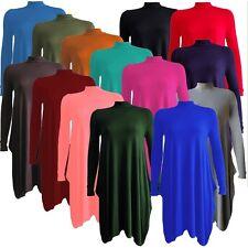 Womens Ladies Long Sleeve Polo Turtle Neck Skater Flared Swing Dress Plus 8-26