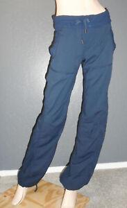 "LULULEMON Yoga Pants DANCE STUDIO Drawstring INKWELL NAVY Unlined 34"" Cinch Sz 8"