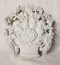 Vintage Mid Century White Syroco Fruit Basket Kitchen Wall Plaque 5260B