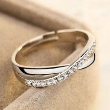 Damen 18K Weißgold gefüllt Kristall Silber Hochzeits Engagement Ring Schmuck #14