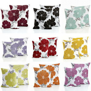 """POPPY Floral Modern Thick Chenille Cushion Cover 18"""" x 18"""" & 22"""" x 22"""" 9 Colours"""