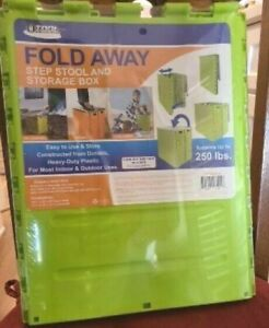 Tool Solutions Fold Away Step Stool and Storage Box Heavy-Duty Plastic 14 3/4""