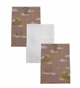 TEDDY BEAR DREAMS 100% Organic Cotton Flannel Baby Receiving Blankets x 3