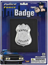 Silver Metal Police Badge With Leather Look Wallet Forum Novelties