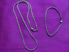 Necklace and Bracelet Set, 24K Gold Plated, Pretty Twisted Chain, UK Seller