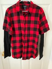 New Forever 21 Red & Black Plaid Button Down Long Sleeve Shirt Mens Medium