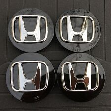 NEW HONDA (SET OF 4) 69mm BLACK BASE CHROME LOGO WHEEL CENTER CAPS WC4PC562