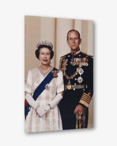HRH Queen Elizabeth & Prince Phillip colour portrait Canvas wall art