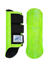 Davis Horse Boots Tendon Splint Jumping Classic Lime Green Glitter Full/Large