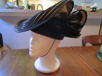 Vintage Bollman Doeskin Wool Felt Black & Gold Ladies Hat with Satin Flower