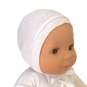 Newborn 0-3  3-6 6-12 Months  WHITE VELOUR BABY HATS WITH TIES 100%Velour Cotton