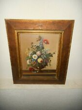 Old oil painting on copper,{ Still life with pretty flowers, signed J. Rode' }.