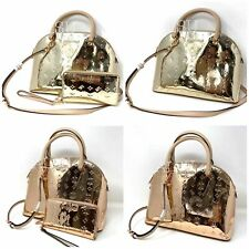 Michael Kors Emmy SET Large Dome Satchel Women's Bag Wallet Rose Pale Gold