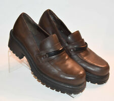 Vtg Esprit Madison Womens Brown Leather Old School Loafers Chunky Sole Sz 7.5