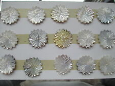 15pc Vintage Seller's Card/Samples Mother of Pearl Silvery Dahlia Pendants 28mm