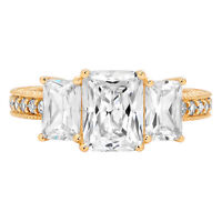 4.06ct Accent 3Stone Emerald Cut Promise Engagement wedding Ring 14k Yellow Gold