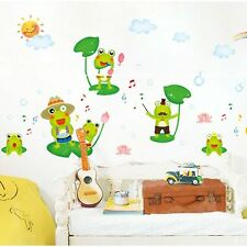 Happy Frog Singing Concert Wall Sticker for Baby Children Kid Room Cartoon Decal