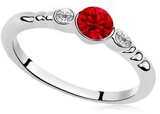 Silver and Red Small Size M Party Engagement Ring Diameter 16.5 mm FR145