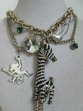 NWT Auth Betsey Johnson Vintage Zoo Zebra Monkey Charm Chain Statement Necklace