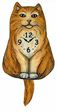 WALL CLOCKS - FLUFFY ORANGE CAT WAGGING TAIL WALL CLOCK - CAT WALL CLOCK