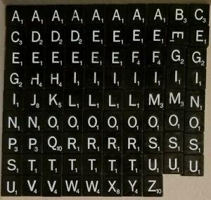 You Choose Star Trek Scrabble Replacement Black Plastic Tiles White Letters