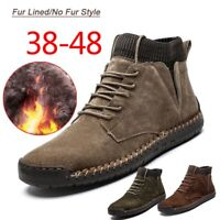 Mens Causal Real Leather Shoes Autumn Winter Warm Fur Lined Lace-Up Ankle Boots