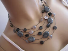 Set Modekette Collier Damen Hals Kette + Ohrringe Perlen Schwarz Mehrreihig