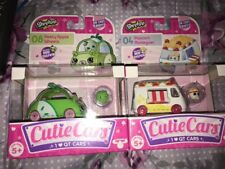 NEW! Lot Of 2 Shopkins Cutie Cars Peely Apple Wheels #08 & Popcorn Moviegoer #04
