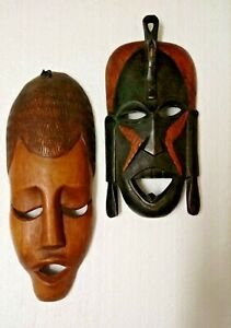 Hand Carved Wooden Wall Hanging Art Tribal Mask Plaques x 2