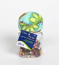 NWT Dritz Pin Jar with Pin Cushion Lid Floral Sewing Craft New