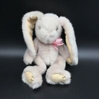 """Pier 1 One Imports Bunny Rabbit Plush Soft Toy Beige Tan Pink Bow 8"""" Jointed"""