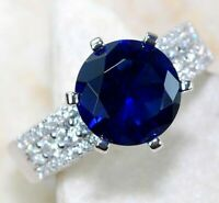 Top Quality 4CT Blue Sapphire & Topaz 925 Sterling Silver Ring Jewelry Sz 6, UC1