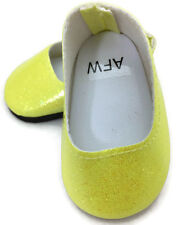 """Yellow Glitter Slip On Dress Shoes made for 18"""" American Girl Doll Clothes"""