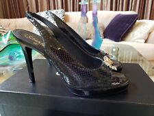 CHANEL BLACK PATENT LEATHER PERFORATED GOLD BOW OPEN TOE PLATFORM PUMPS SHOES 40