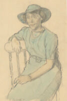 R. Russell - 1979 Graphite Drawing, Portrait of a Lady in Blue