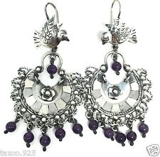 Silver Bird Amethyst Earrings Mexico Frida Kahlo Design Taxco Mexican Sterling