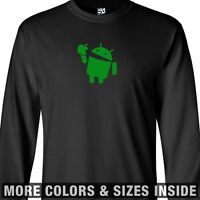 Droid Eats Apple LONG SLEEVE T-Shirt - Android Google Eating Biting Bites Tee