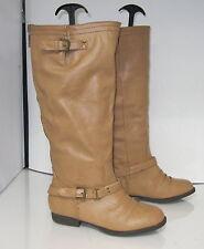 Marrón 2.5cm tacón bajo Sexy Botas a la rodilla Puntera Redonda Talla 6.5