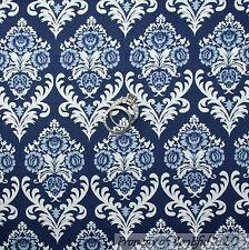 BonEful Fabric FQ Cotton Quilt Blue Navy Dark Light White Scroll Flower S Damask