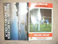 England V Finland Program played at Wembley 17 Oct 1984 - WCQ