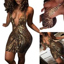 Abito aderente Scollo trasparente nudo Ballo Discoteca Mini Mesh Sequin Dress M