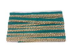 9Mtr Lace Border Trim Velvet thin strip, gold stone tassle style, Teal Green 2cm