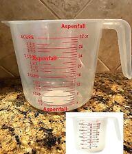 4 Cup Plastic Measuring Cup~1 Liter 32oz 1000mL  W/ Pour Spout & Handle