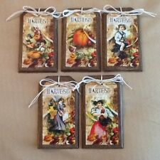 5 Wooden Fall Ornaments/Autumn Harvest HangTags/Fall Ornies Handcrafted Set1