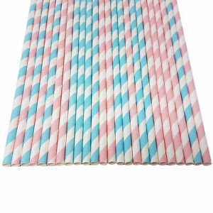 Mixed Paper Straws Pastel Pink Blue Stripes Baby Gender Reveal Party Birthday UK