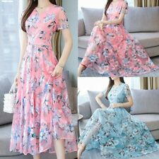 Women Fashion Summer Evening Party Dresses O-Neck Knee Length Short Sleeve Dress