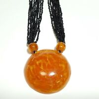 Orange Necklace Amber Color Chunky Large Pendant Beaded Chain Statement Vintage