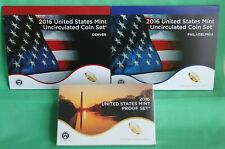 2016 Proof and Uncirculated TWO Annual US Mint Coin Sets PDS 39 Coins Complete