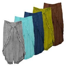 "Acidwash Wrap Style Pants - 37"" / Rayon / Assorted"