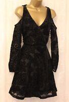 Karen Millen Black Wrap Devore Drop Cold Shoulder Cocktail Party Dress UK 12 40